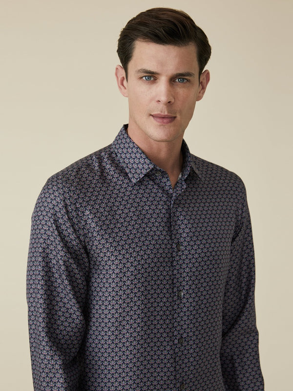 Dark Navy Crown Printed Silk Shirt
