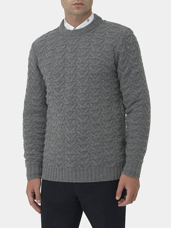 Wool And Cashmere Chevron Knit Crewneck