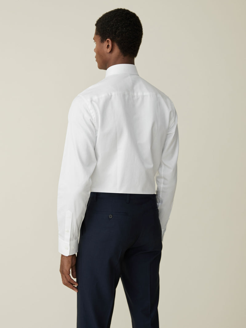 White Herringbone Tailored Fit Shirt