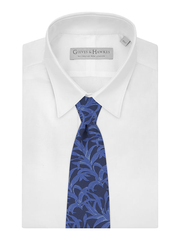 Navy Silk And Cotton Palm Jacquard Tie