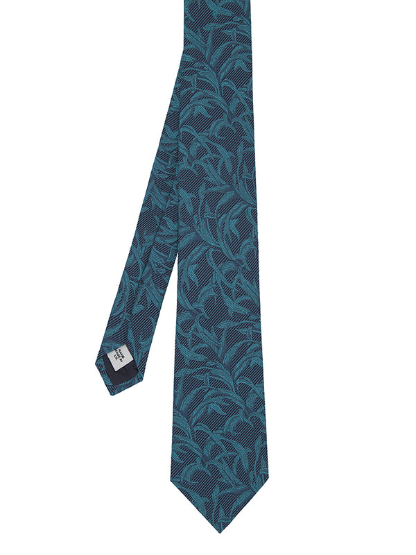 Green Silk And Cotton Palm Jacquard Tie
