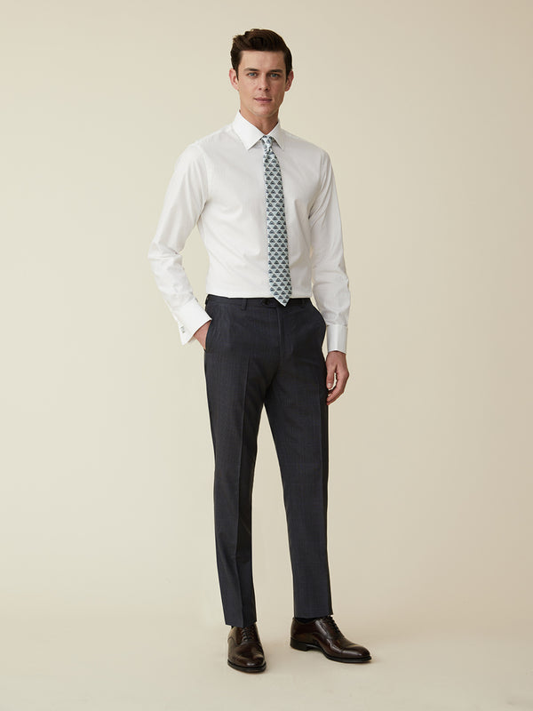 Concrete Wool Shadow Check Suit Trousers