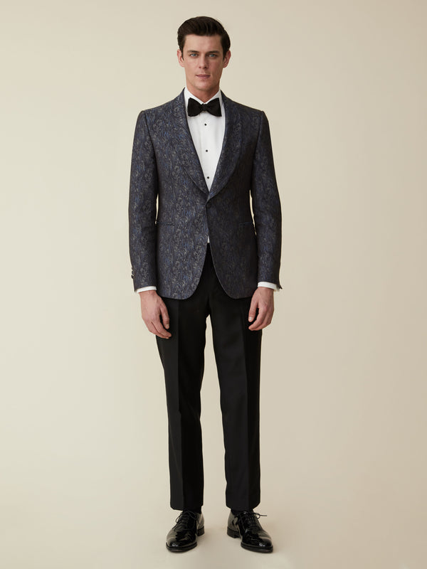 Navy Silk Jacquard Evening Jacket