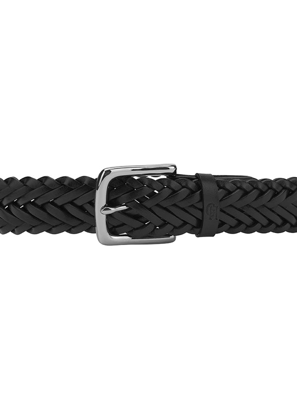 Navy Plaited Leather Belt