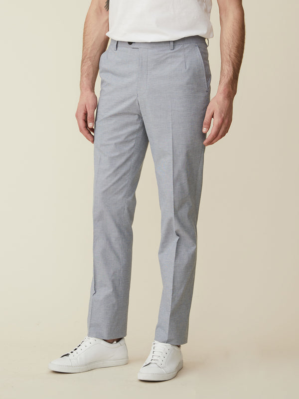 Sky Blue Micro Puppytooth Cotton Trousers