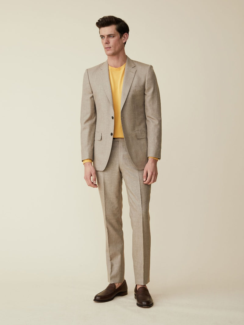 Oatmeal Wool, Silk And Linen Suit Jacket