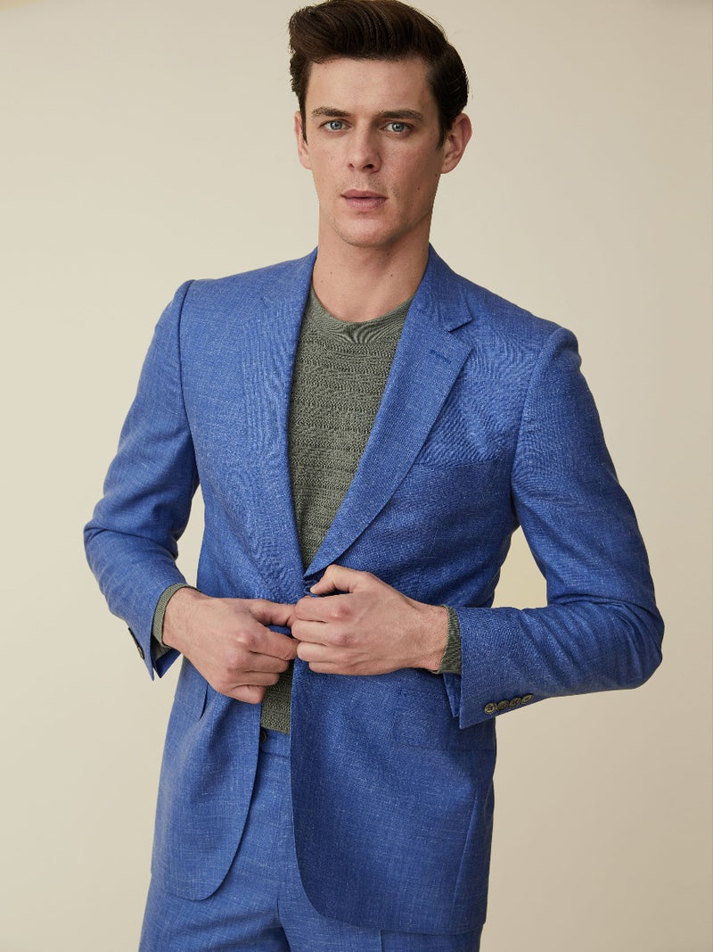 Light Blue Wool, Silk And Linen Suit Jacket