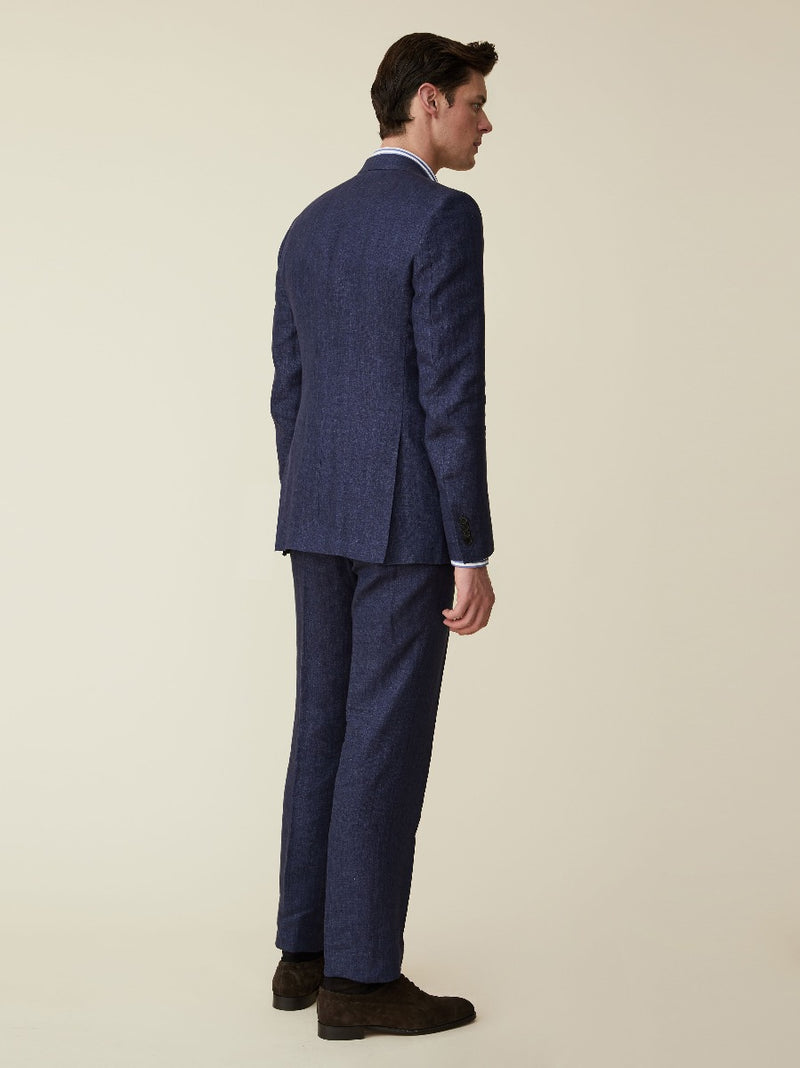 Navy Wool, Silk And Linen Suit Jacket