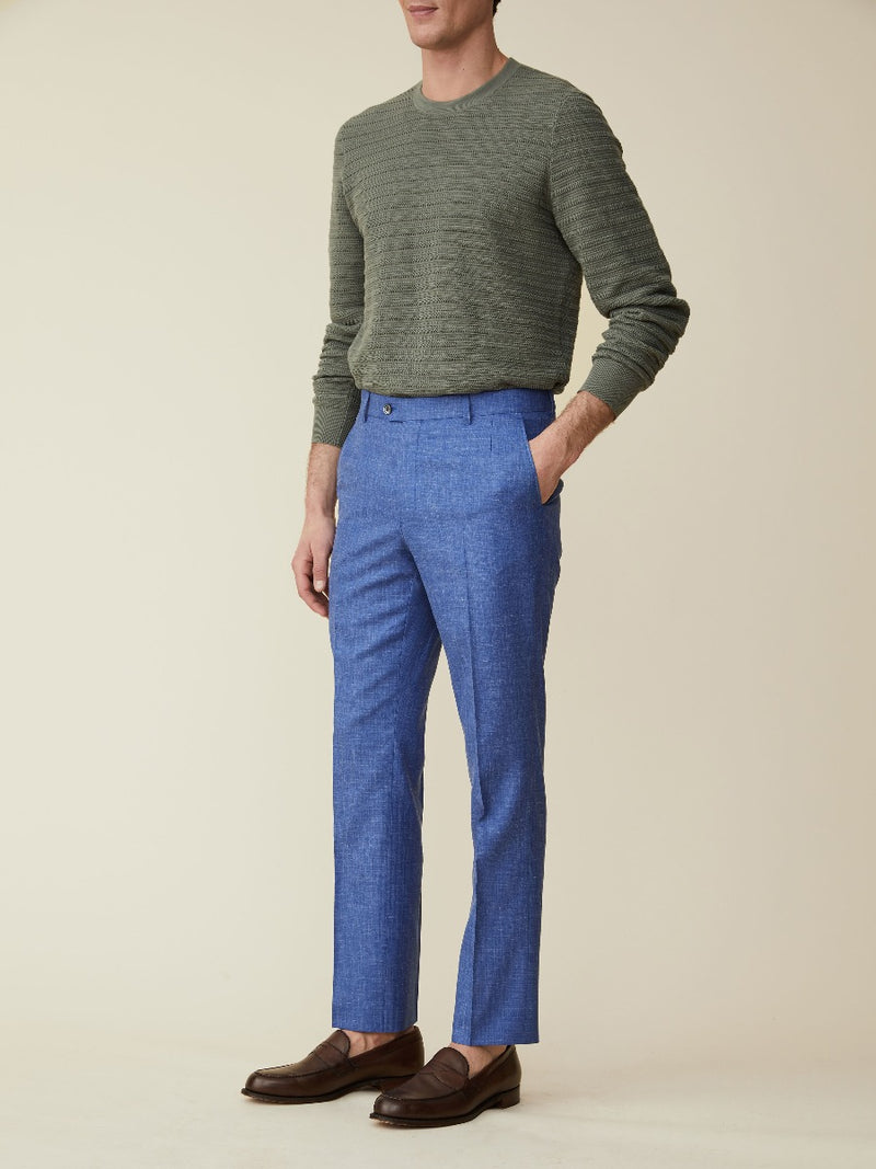 Wool, Silk And Linen Suit Trousers