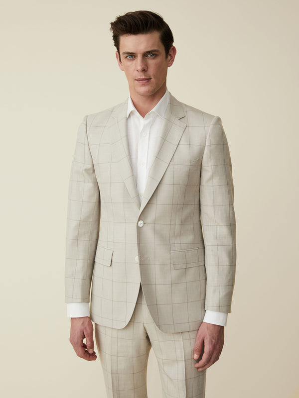 Ecru Wool, Silk And Linen Windowpane Check Suit