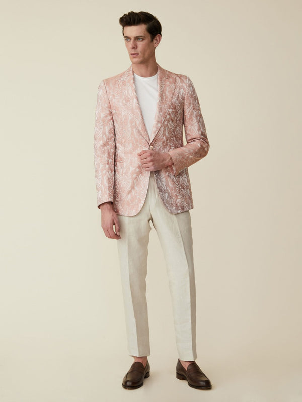 Pale Pink Silk Jacquard Jacket