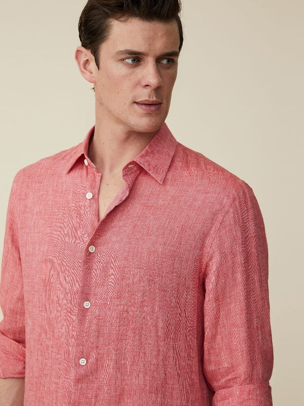 Tropical Pink Linen Casual Shirt