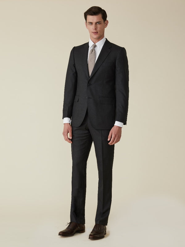 Charcoal Wool Pinstripe Suit