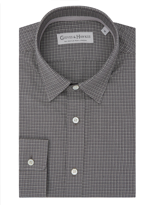 Grey Brushed Cotton Check Casual Shirt