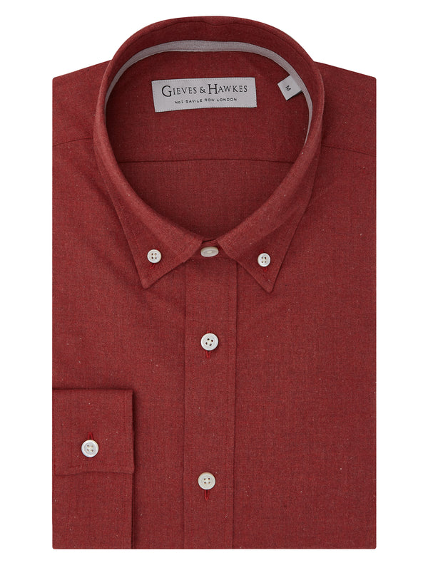 Red Cotton Flannel Button-down Casual Shirt