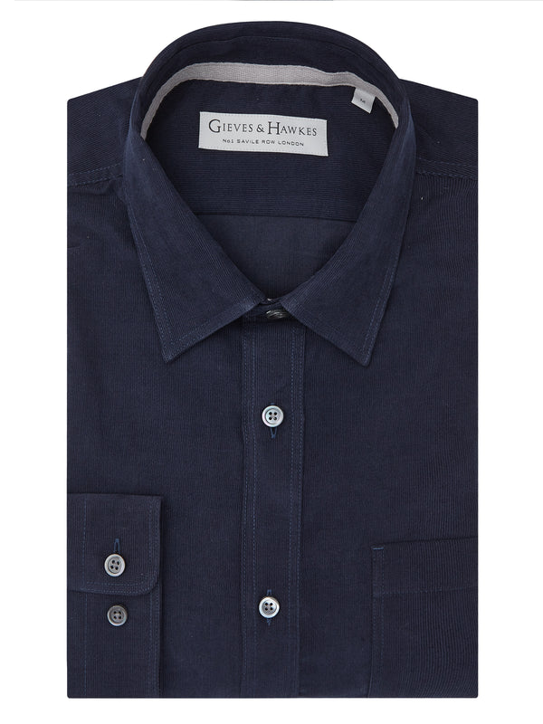 Navy Soft Micro-Corduroy Casual Shirt
