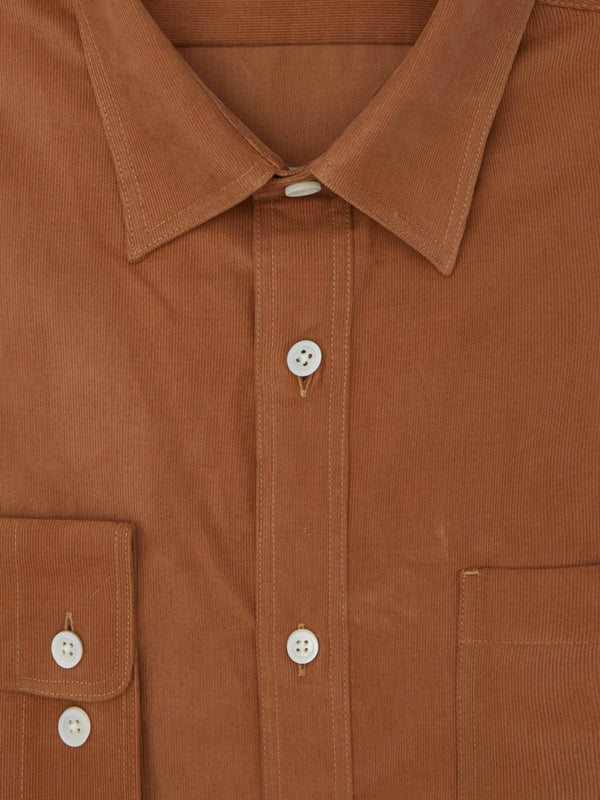 Orange Soft Micro-Corduroy Casual Shirt