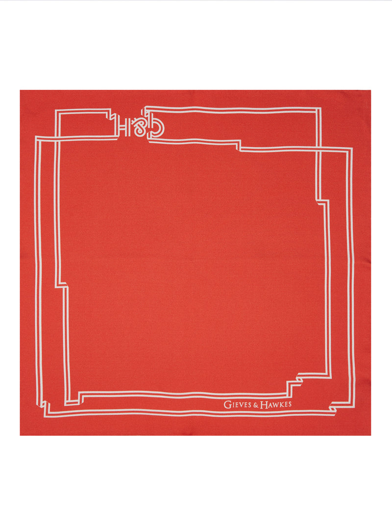Red G&H Border Silk Pocket Square