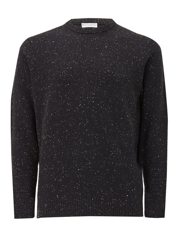 Black Donegal Style Wool Crewneck