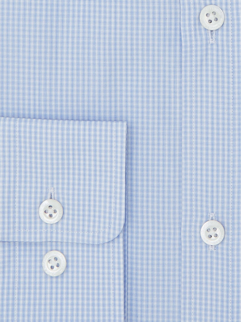 White Poplin with Sky Blue Check Tailored Shirt