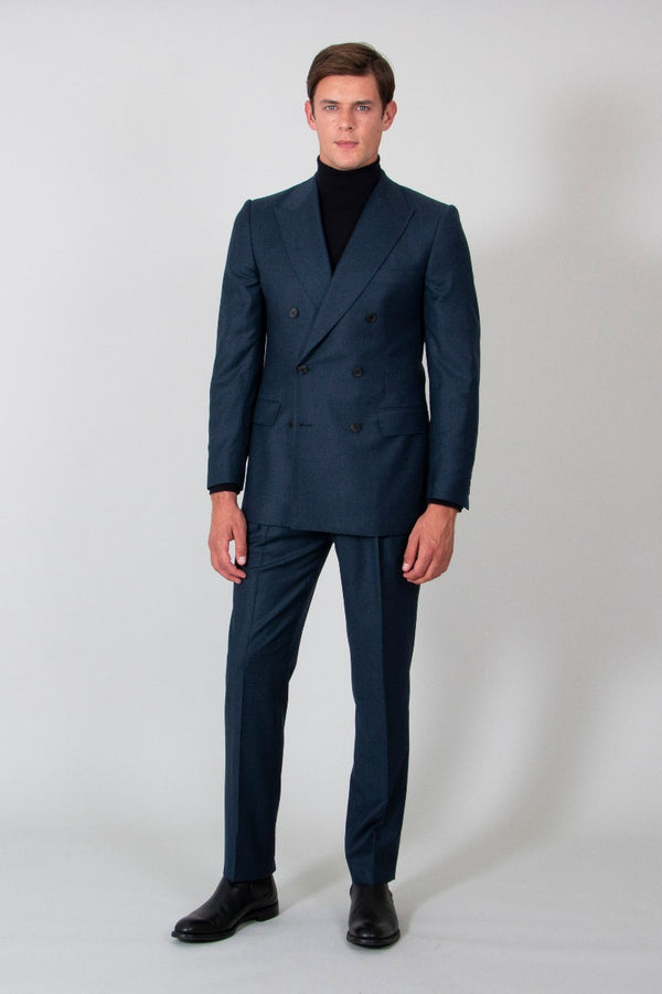 Navy Luxury Flannel Double-breasted Suit