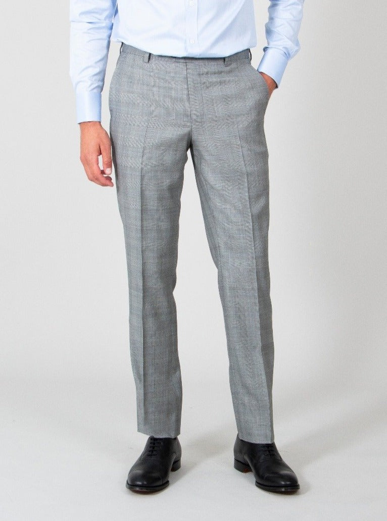 Dove Grey Wool Prince Of Wales Check Suit Trousers