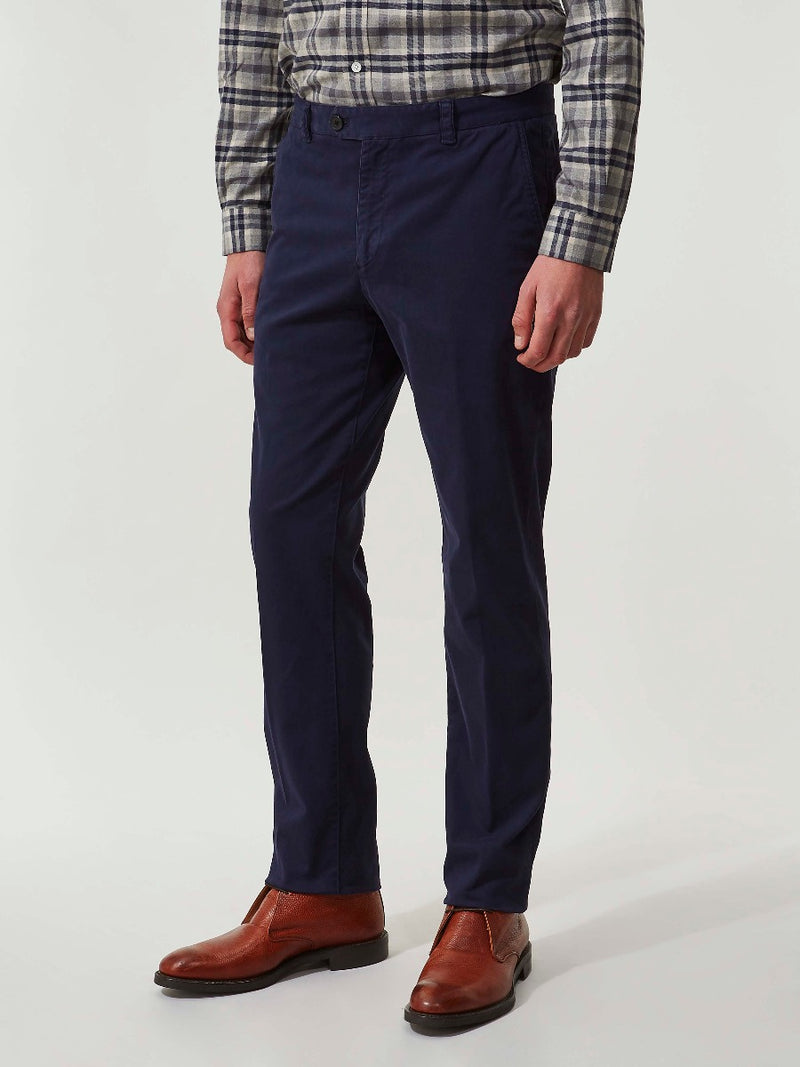 Navy Brushed Cotton Slim Fit Chinos
