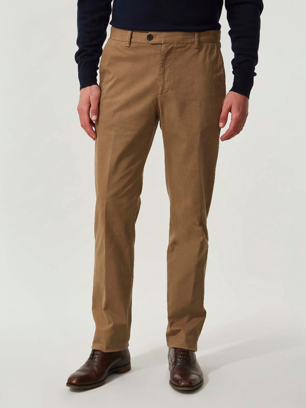 Tan Brushed Cotton Slim Fit Chinos