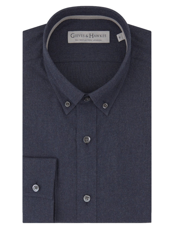 Navy Cotton Flannel Button-down Casual Shirt