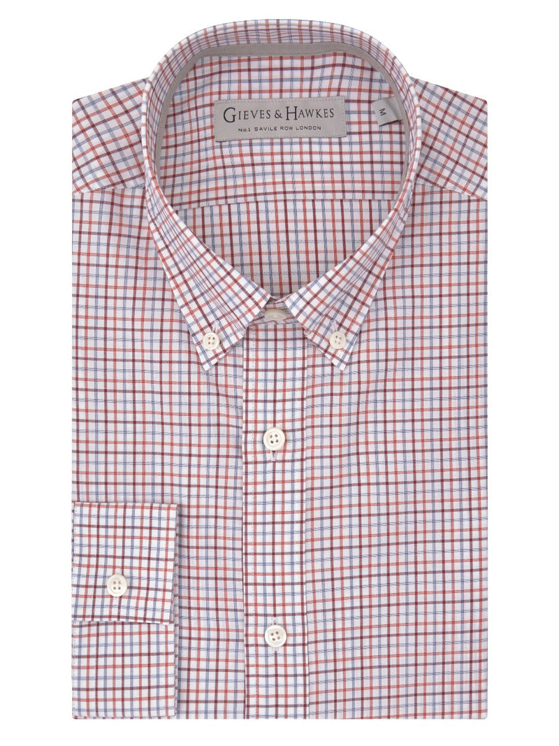 Crimson Checked Cotton Button-down Casual Shirt
