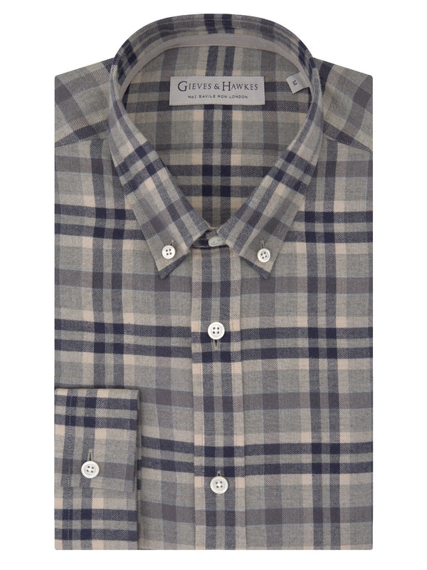 Graphite Tonal Check Cotton Flannel Button-down Casual Shirt
