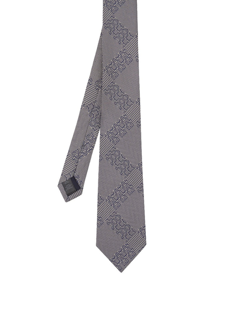 Navy Abstract Check Silk Jacquard Tie