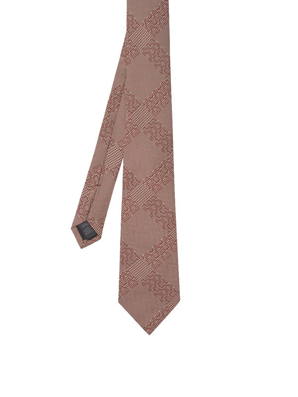 Pink Abstract Check Silk Jacquard Tie