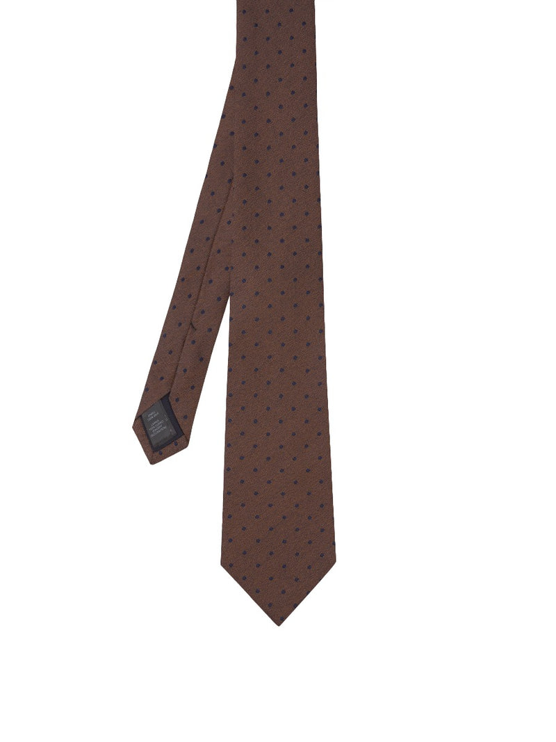 Brown Textured Spot Silk Jacquard Tie