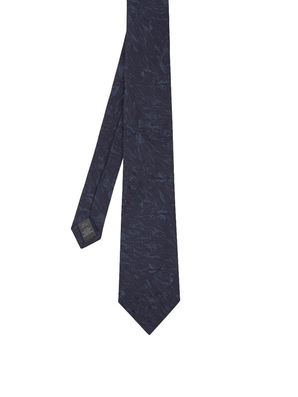 Navy Abstract Floral Jacquard Silk Tie