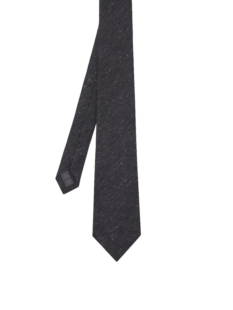 Charcoal Slub Silk And Wool Textured Tie