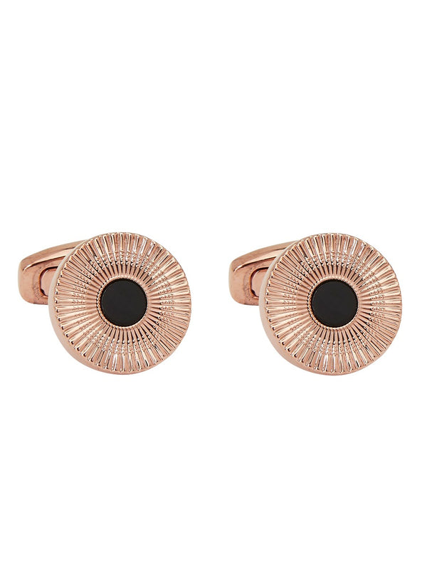 Rose Gold And Onyx Inset Cufflinks