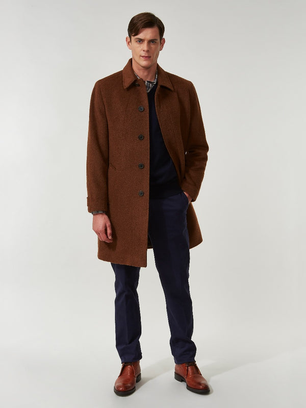 Tobacco Wool And Mohair Split Raglan Overcoat