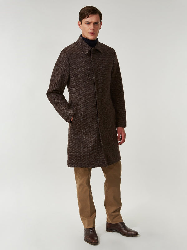 Charcoal Brown Lambswool Half Raglan Coat
