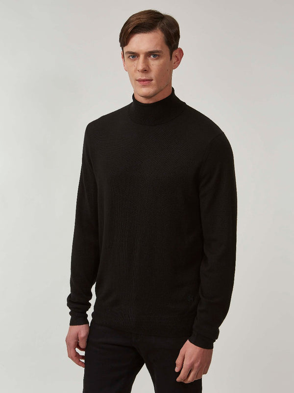 Black Merino Rollneck