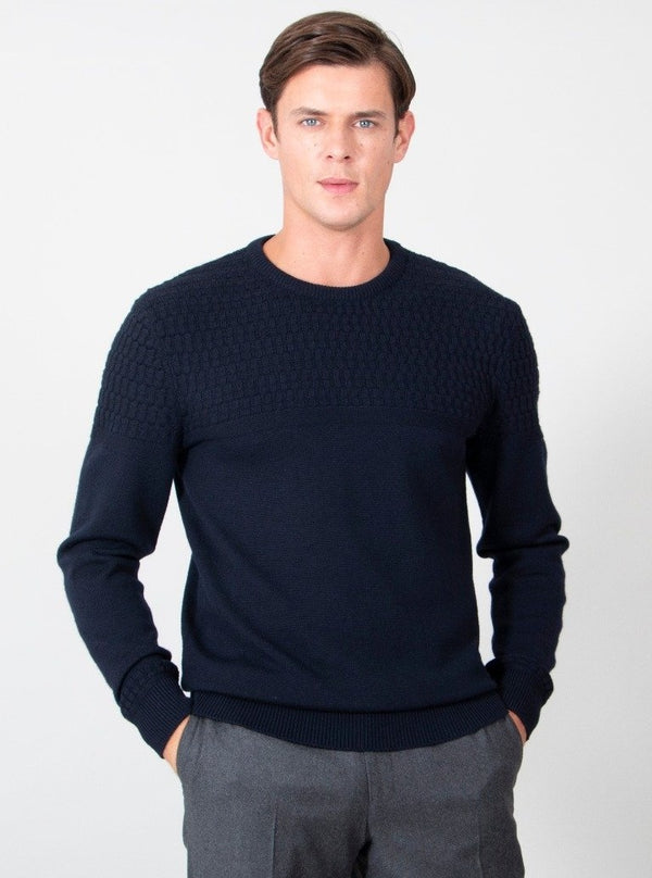 Merino Seasonal Check Stitch Crewneck