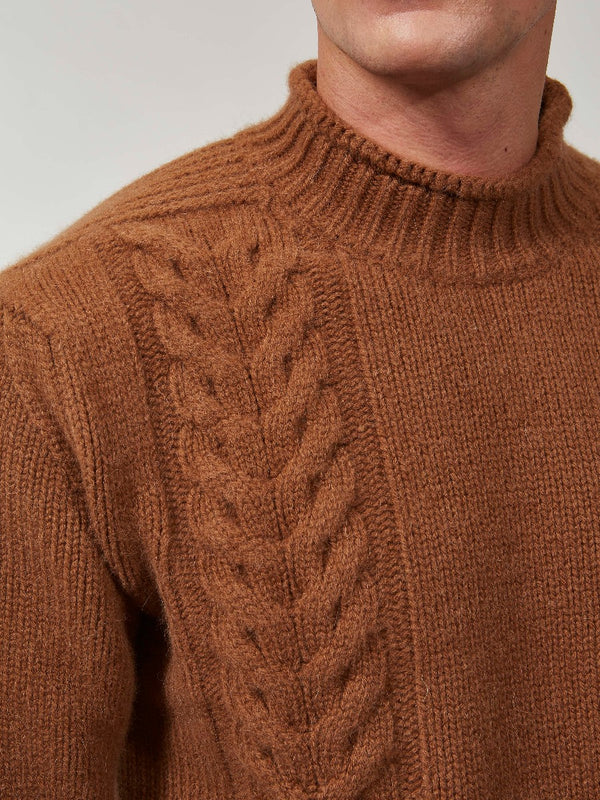 Toffee Wool And Alpaca Cable Knit Mock Neck