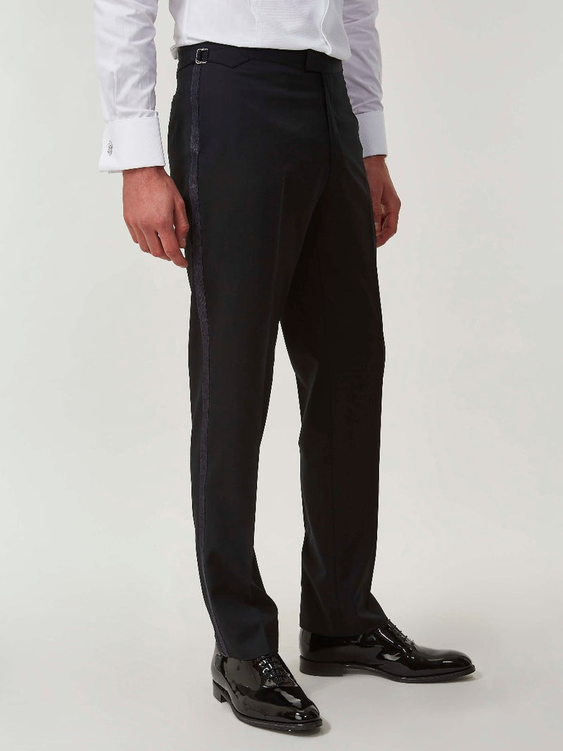 Black Barathea And Silk Evening Trousers