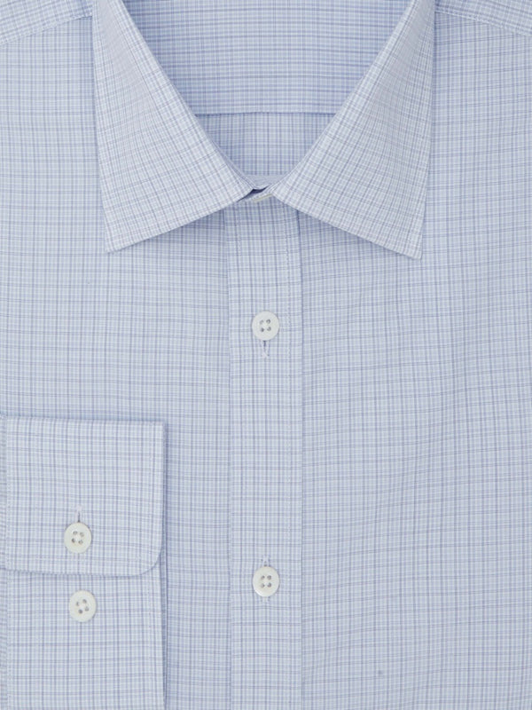 Light Blue Overcheck Tailored Fit Shirt