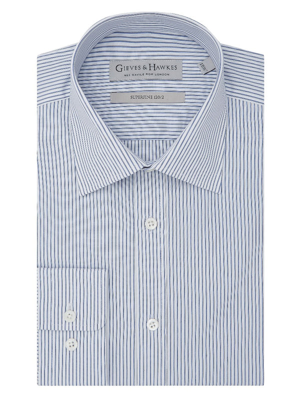 Blue Stripe Superfine Cotton Tailored Fit Shirt