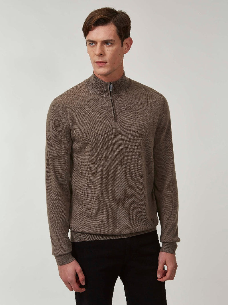 Taupe Merino Quarter-zip Sweater