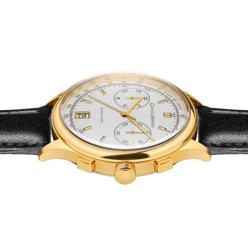 Gold Plate, Black Leather Strap Chronograph