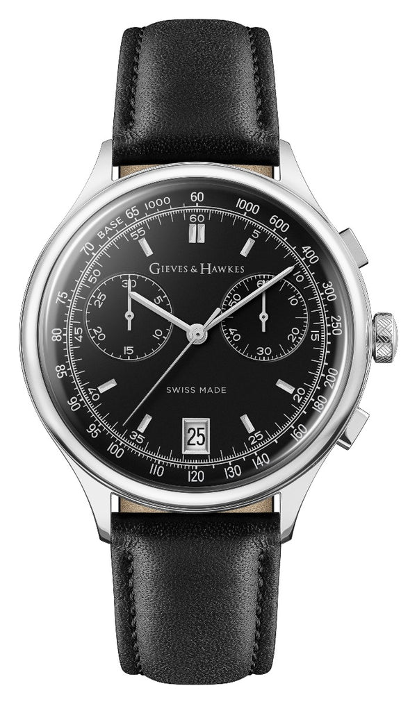 Stainless Steel, Black Leather Strap Chronograph