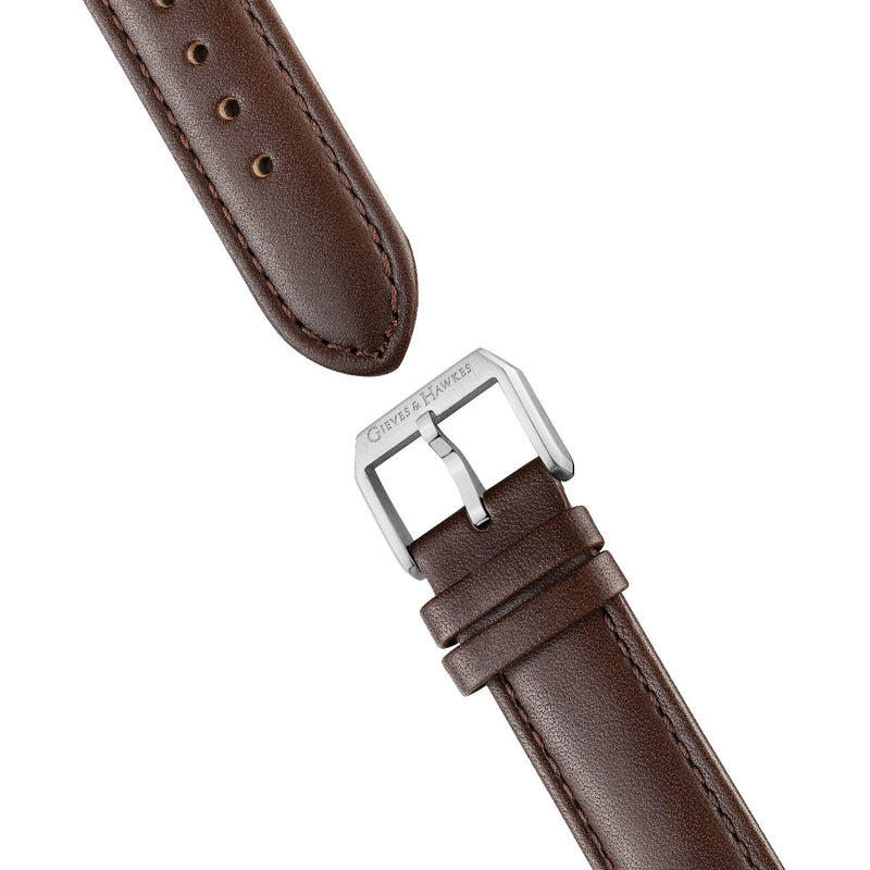 Stainless Steel, Brown Leather Strap Chronograph