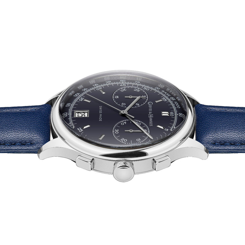 Stainless Steel, Blue Leather Strap Chronograph